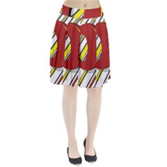 Red and yellow design Pleated Mesh Skirt