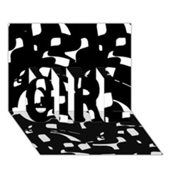 Black and white pattern GIRL 3D Greeting Card (7x5)