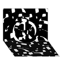 Black and white pattern Peace Sign 3D Greeting Card (7x5)