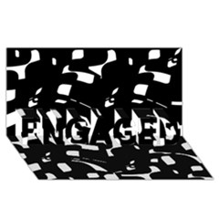 Black and white pattern ENGAGED 3D Greeting Card (8x4)