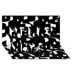 Black and white pattern Merry Xmas 3D Greeting Card (8x4)