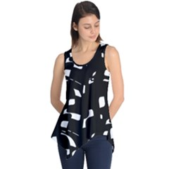 Black and white pattern Sleeveless Tunic