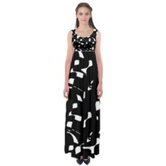 Black And White Pattern Empire Waist Maxi Dress