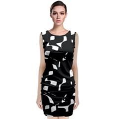Black and white pattern Classic Sleeveless Midi Dress