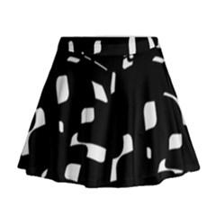 Black and white pattern Mini Flare Skirt