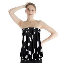 Black and white pattern Strapless Top