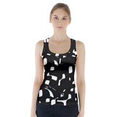 Black And White Pattern Racer Back Sports Top
