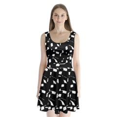 Black And White Pattern Split Back Mini Dress