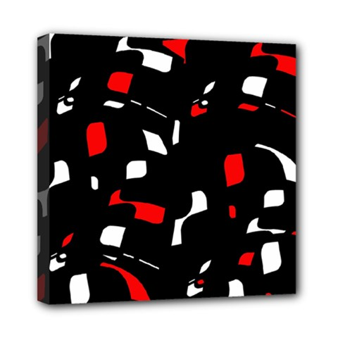 Red, black and white pattern Mini Canvas 8  x 8