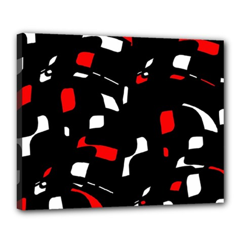 Red, black and white pattern Canvas 20  x 16
