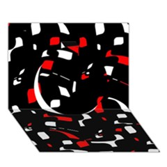 Red, black and white pattern Circle 3D Greeting Card (7x5)