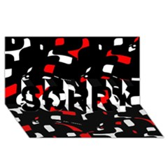 Red, black and white pattern SORRY 3D Greeting Card (8x4)