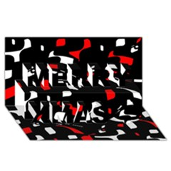 Red, black and white pattern Merry Xmas 3D Greeting Card (8x4)