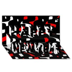 Red, black and white pattern Happy New Year 3D Greeting Card (8x4)
