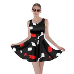 Red, black and white pattern Skater Dress