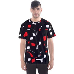 Red, black and white pattern Men s Sport Mesh Tee
