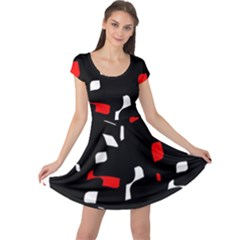 Red, black and white pattern Cap Sleeve Dresses