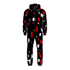 Red, black and white pattern Hooded Jumpsuit (Kids)