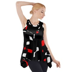 Red, black and white pattern Side Drop Tank Tunic