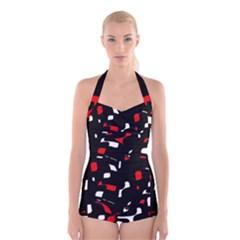 Red, black and white pattern Boyleg Halter Swimsuit