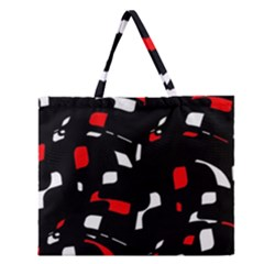 Red, black and white pattern Zipper Large Tote Bag