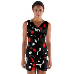 Red, black and white pattern Wrap Front Bodycon Dress