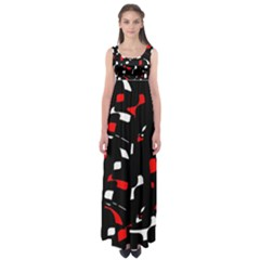 Red, black and white pattern Empire Waist Maxi Dress