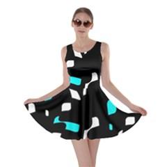 Blue, black and white pattern Skater Dress