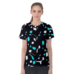 Blue, black and white pattern Women s Cotton Tee