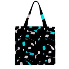 Blue, black and white pattern Zipper Grocery Tote Bag