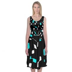 Blue, black and white pattern Midi Sleeveless Dress