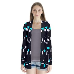 Blue, Black And White Pattern Drape Collar Cardigan