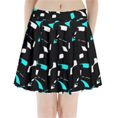 Blue, black and white pattern Pleated Mini Mesh Skirt