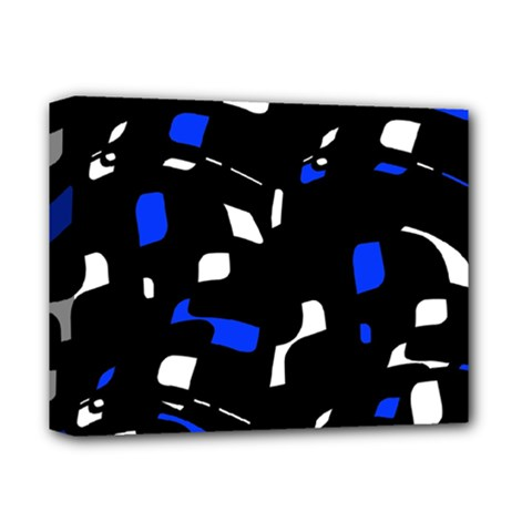 Blue, black and white  pattern Deluxe Canvas 14  x 11