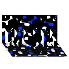 Blue, black and white  pattern MOM 3D Greeting Card (8x4)