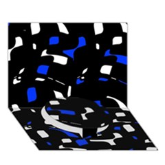 Blue, black and white  pattern Circle Bottom 3D Greeting Card (7x5)