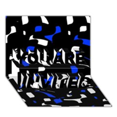 Blue, black and white  pattern YOU ARE INVITED 3D Greeting Card (7x5)