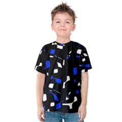 Blue, black and white  pattern Kid s Cotton Tee