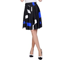 Blue, black and white  pattern A-Line Skirt