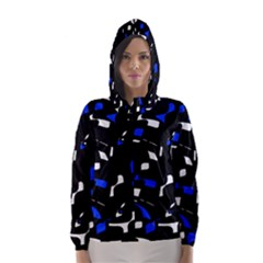 Blue, black and white  pattern Hooded Wind Breaker (Women)