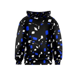Blue, black and white  pattern Kids  Pullover Hoodie