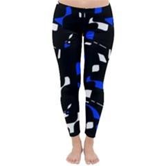 Blue, black and white  pattern Winter Leggings