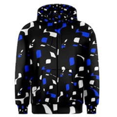 Blue, black and white  pattern Men s Zipper Hoodie