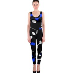 Blue, black and white  pattern OnePiece Catsuit