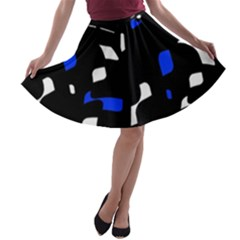 Blue, black and white  pattern A-line Skater Skirt