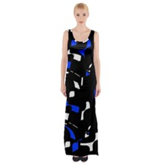 Blue, black and white  pattern Maxi Thigh Split Dress