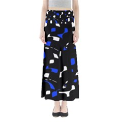 Blue, black and white  pattern Maxi Skirts