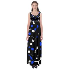 Blue, black and white  pattern Empire Waist Maxi Dress