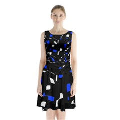 Blue, black and white  pattern Sleeveless Waist Tie Dress