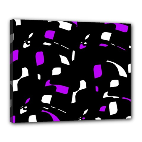 Purple, black and white pattern Canvas 20  x 16